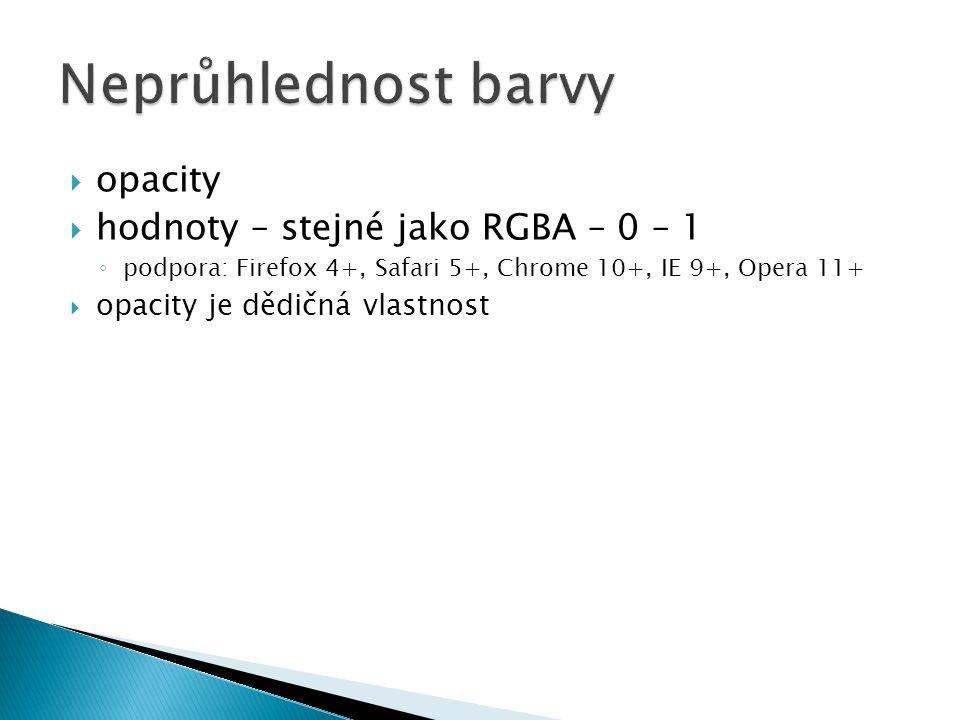 Neprůhlednost barvy opacity hodnoty – stejné jako RGBA – 0 – 1