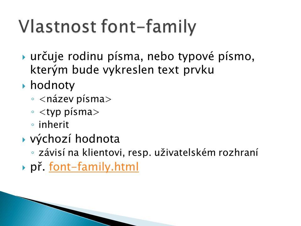 Vlastnost font-family