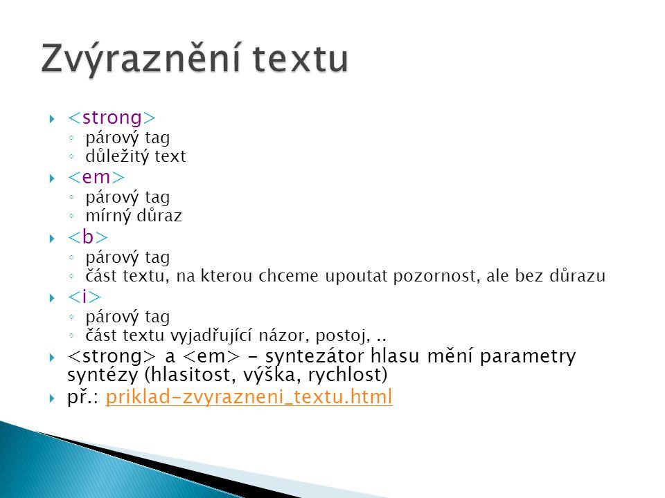 Zvýraznění textu <strong> <em> <b> <i>
