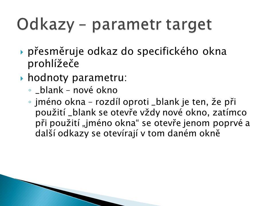 Odkazy – parametr target