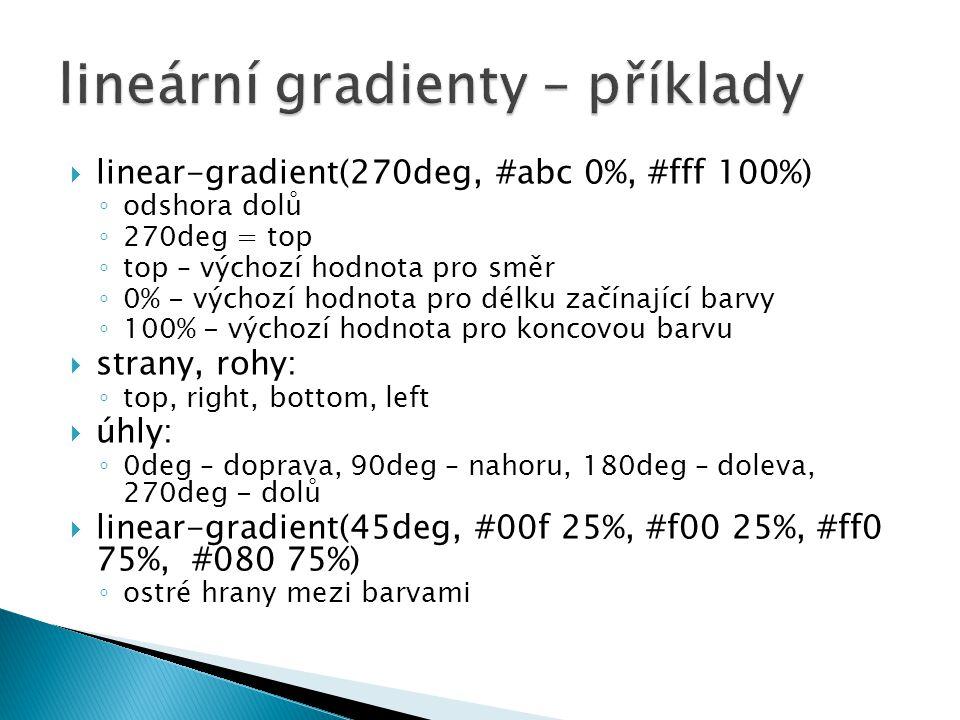 lineární gradienty – příklady