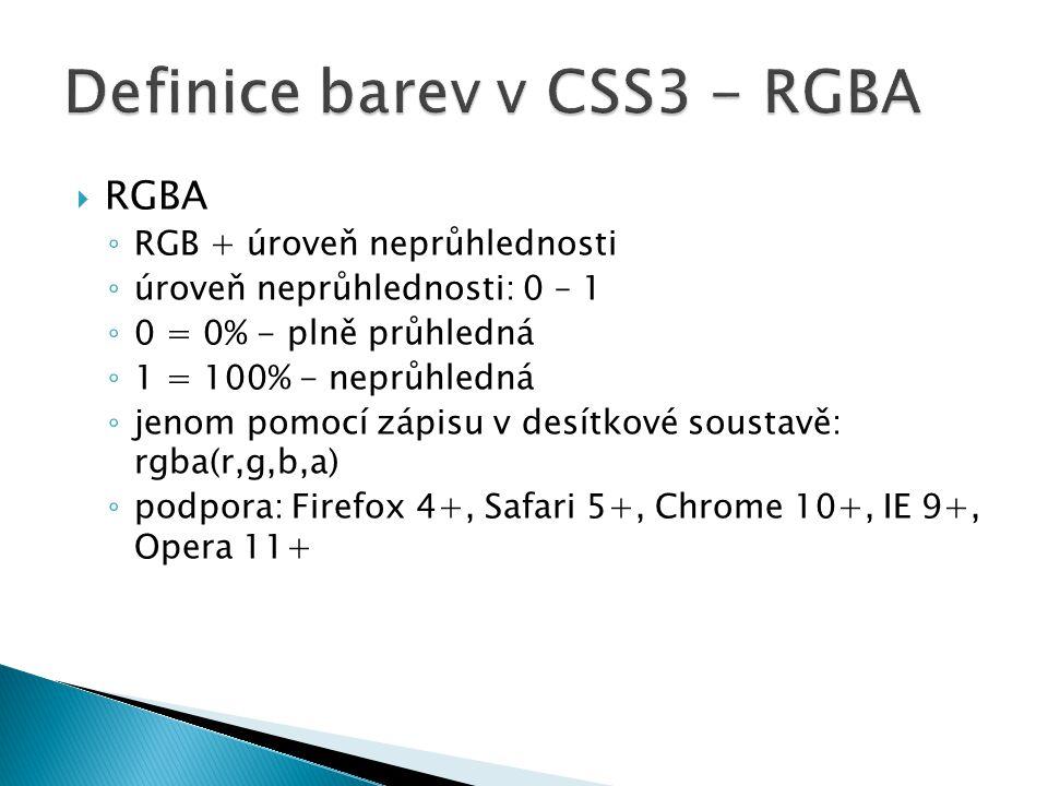 Definice barev v CSS3 - RGBA