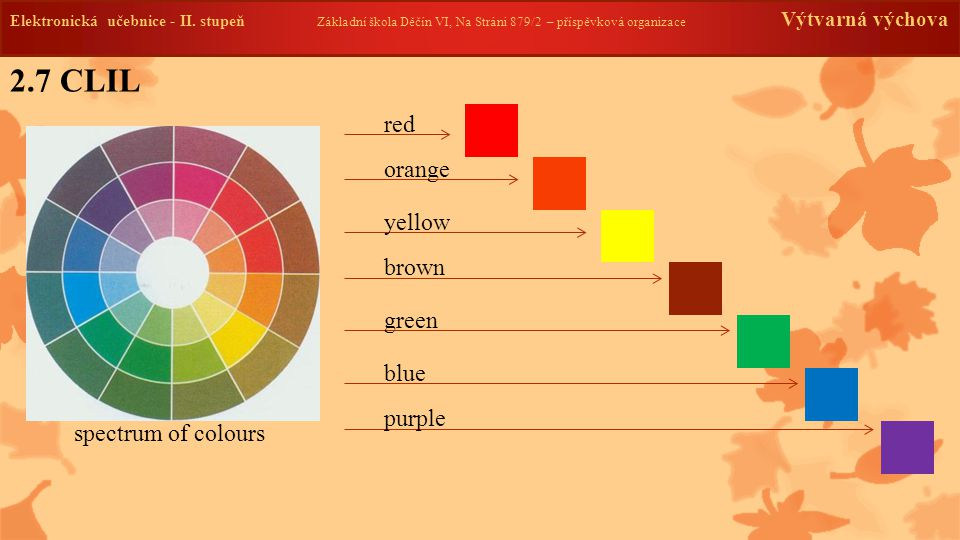 2.7 CLIL red orange yellow brown green blue purple spectrum of colours
