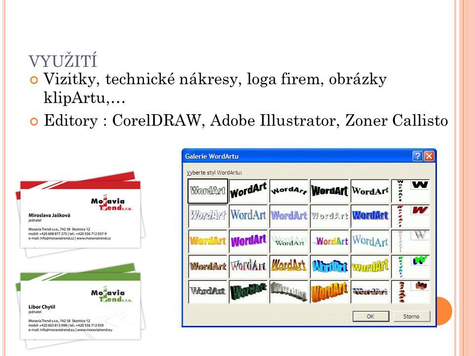 využití Vizitky, technické nákresy, loga firem, obrázky klipArtu,…