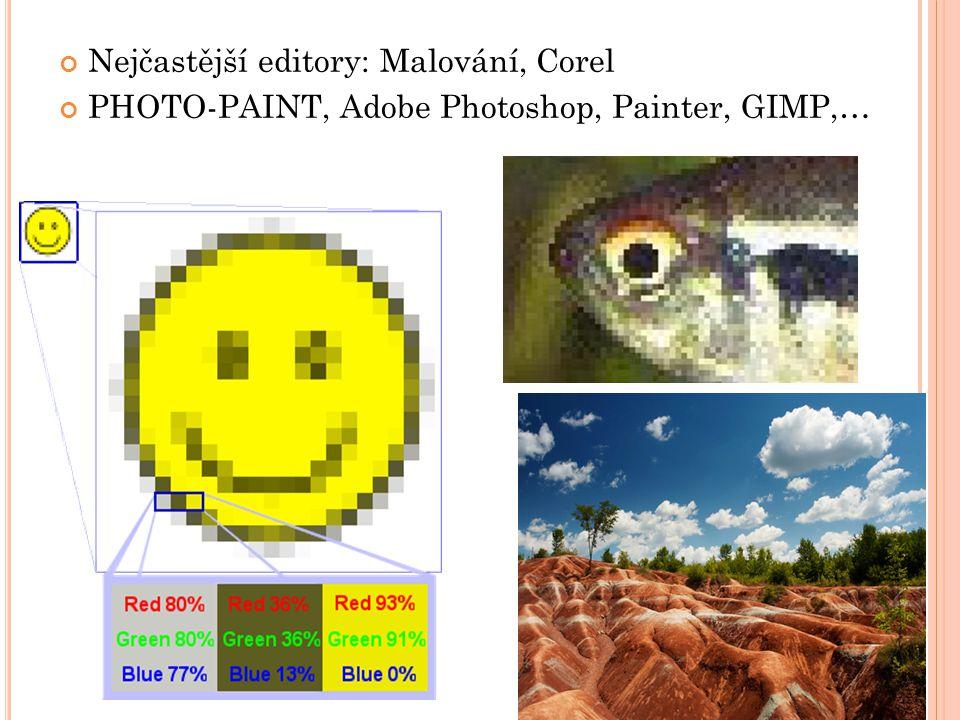 Nejčastější editory: Malování, Corel