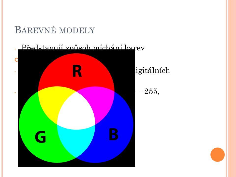 Barevné modely Představují způsob míchání barev