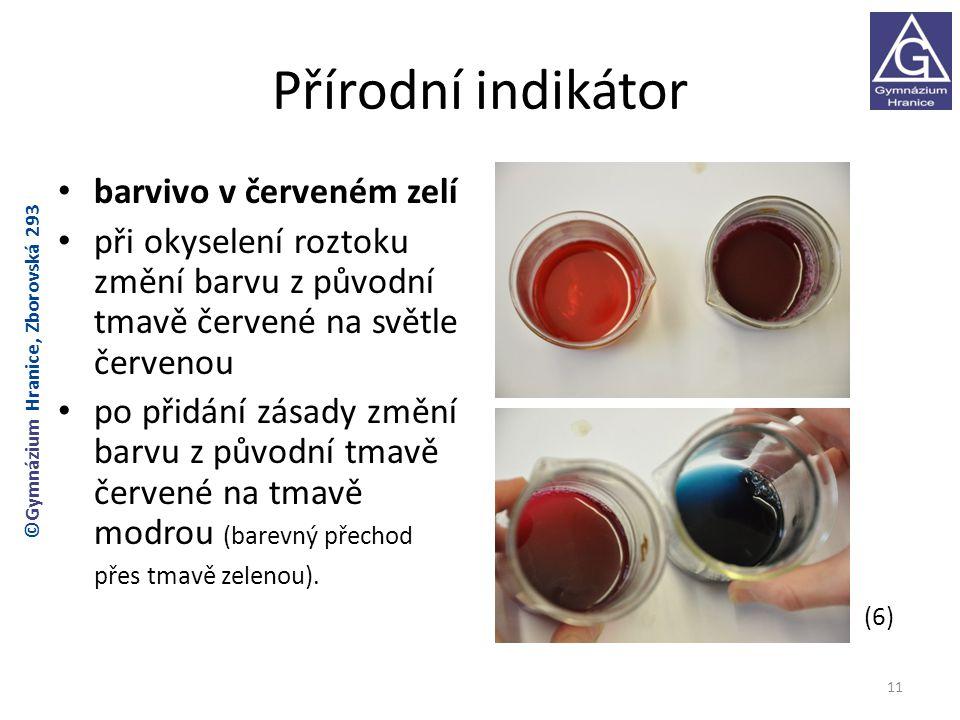 Přírodní indikátor barvivo v červeném zelí