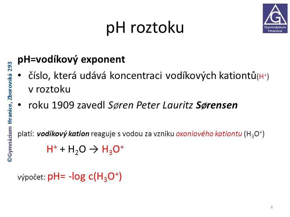 pH roztoku pH=vodíkový exponent