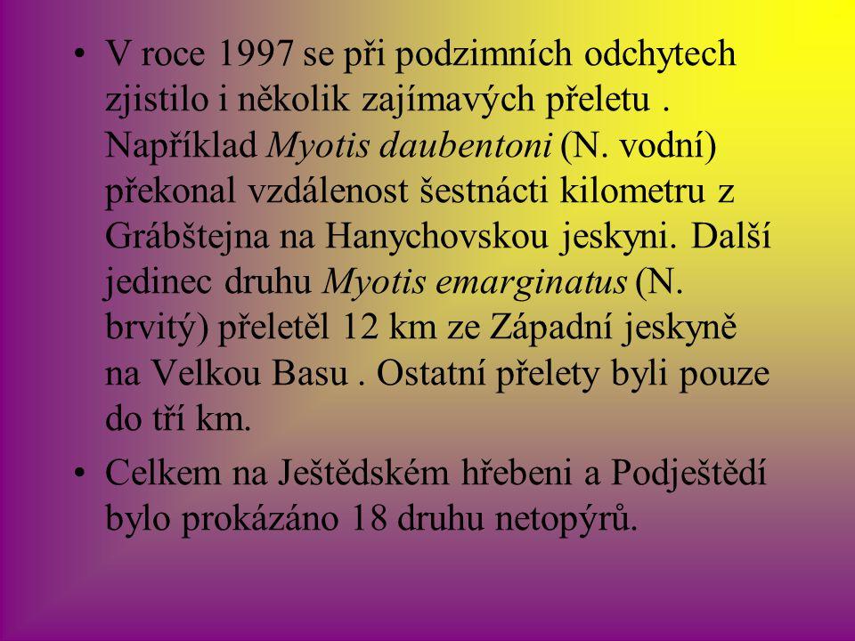 V roce 1997 se při podzimních odchytech zjistilo i několik zajímavých přeletu . Například Myotis daubentoni (N. vodní) překonal vzdálenost šestnácti kilometru z Grábštejna na Hanychovskou jeskyni. Další jedinec druhu Myotis emarginatus (N. brvitý) přeletěl 12 km ze Západní jeskyně na Velkou Basu . Ostatní přelety byli pouze do tří km.