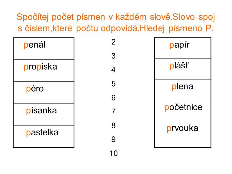 Spočítej počet písmen v každém slově