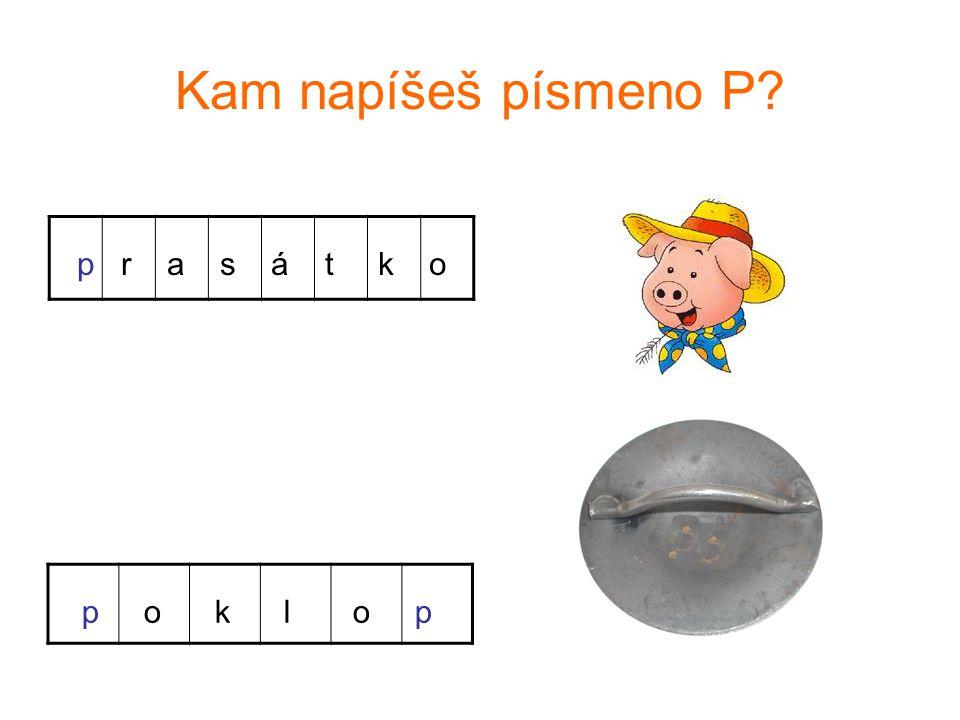 Kam napíšeš písmeno P p r a s á t k o p o k l o p