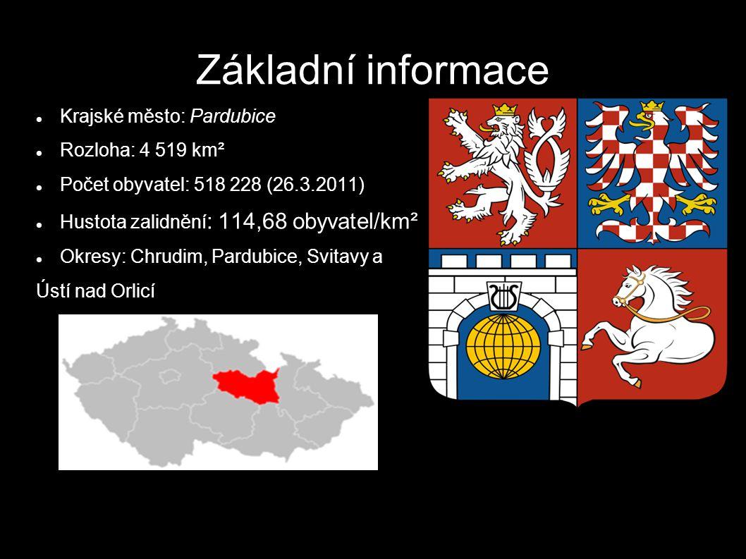 Základní informace Krajské město: Pardubice Rozloha: 4 519 km²