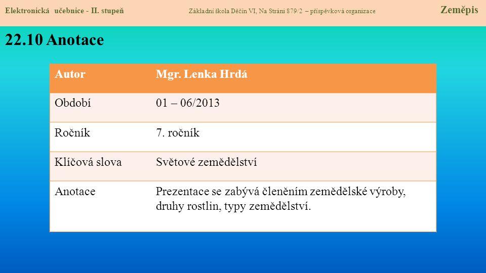 22.10 Anotace Autor Mgr. Lenka Hrdá Období 01 – 06/2013 Ročník