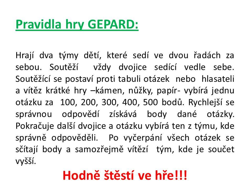 Pravidla hry GEPARD: Hodně štěstí ve hře!!!