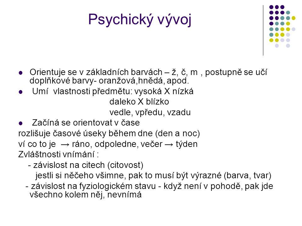 Psychický vývoj Orientuje se v základních barvách – ž, č, m , postupně se učí doplňkové barvy- oranžová,hnědá, apod.
