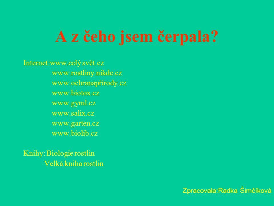 A z čeho jsem čerpala Internet:www.celý svět.cz www.rostliny.nikde.cz