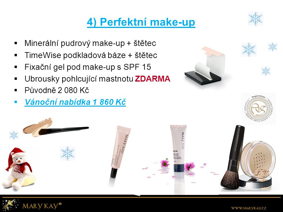 4) Perfektní make-up Minerální pudrový make-up + štětec