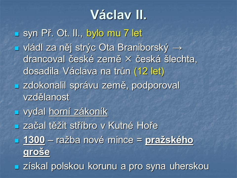 Václav II. syn Př. Ot. II., bylo mu 7 let