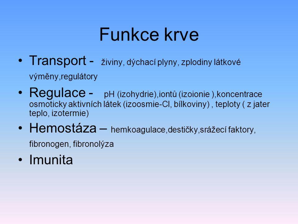 Funkce krve Transport - živiny, dýchací plyny, zplodiny látkové výměny,regulátory.