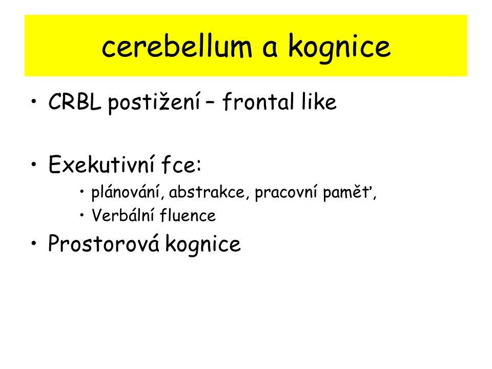 cerebellum a kognice CRBL postižení – frontal like Exekutivní fce: