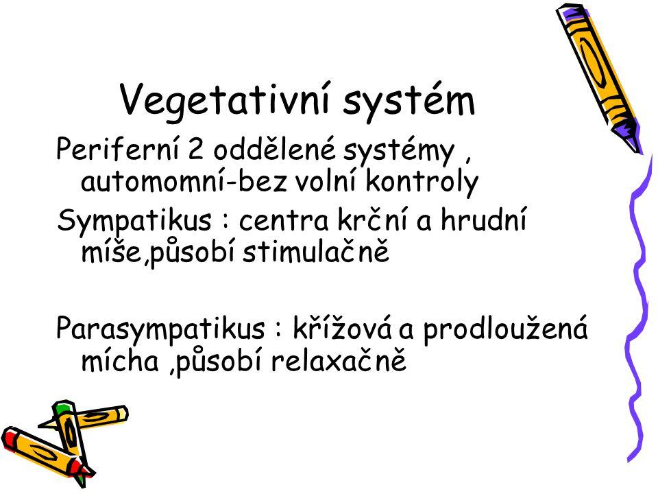 Vegetativní systém Periferní 2 oddělené systémy , automomní-bez volní kontroly. Sympatikus : centra krční a hrudní míše,působí stimulačně.