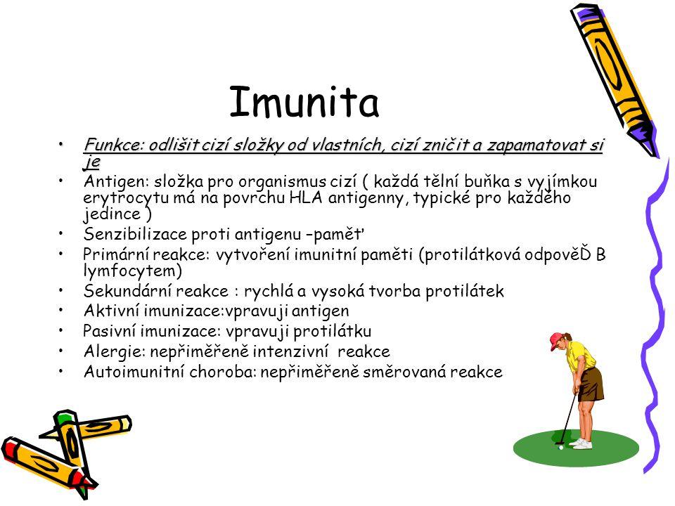 Imunita Funkce: odlišit cizí složky od vlastních, cizí zničit a zapamatovat si je.