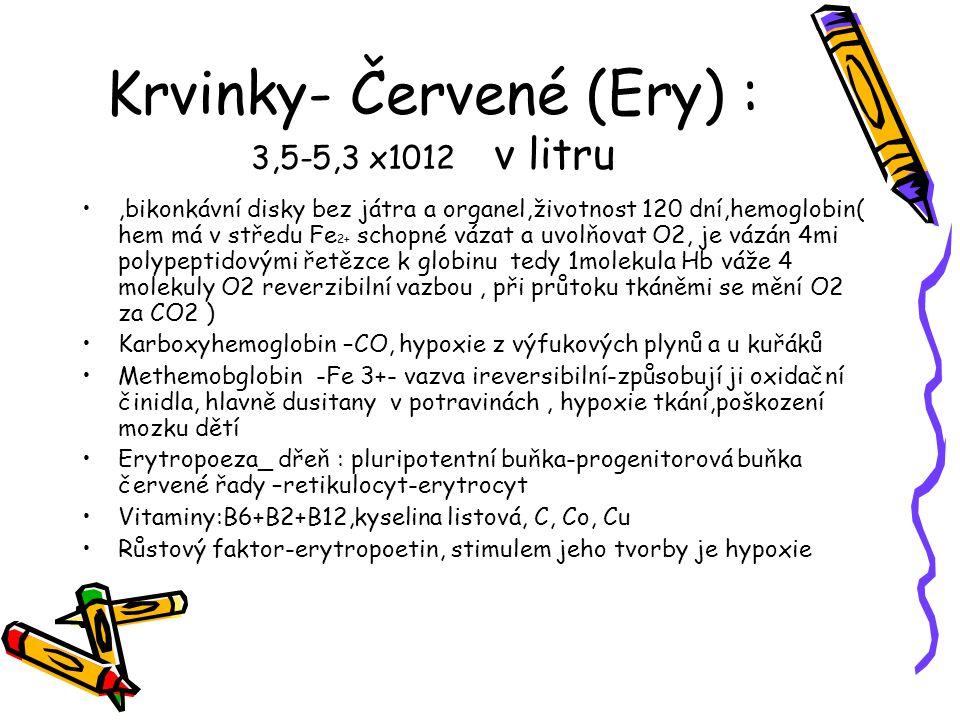 Krvinky- Červené (Ery) : 3,5-5,3 x1012 v litru