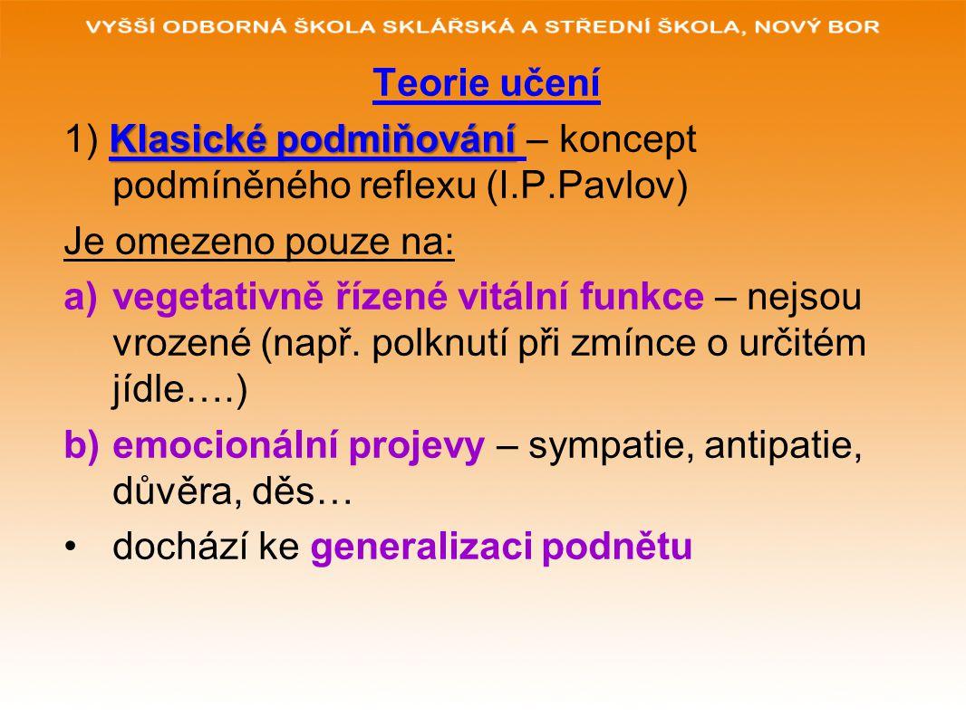 Teorie učení 1) Klasické podmiňování – koncept podmíněného reflexu (I.P.Pavlov) Je omezeno pouze na: