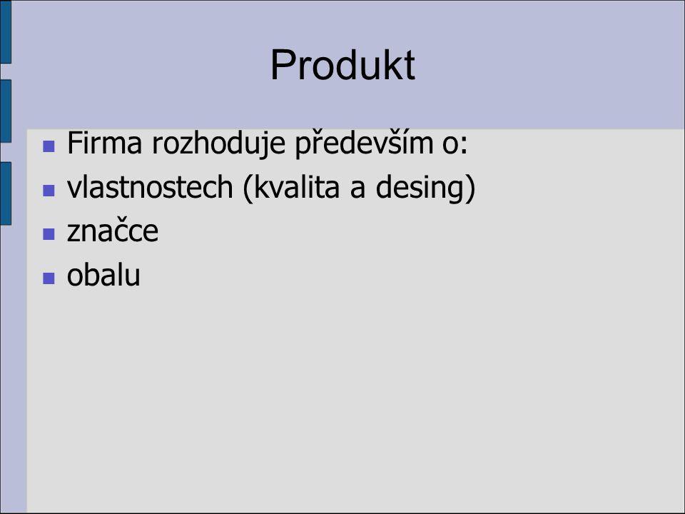 Produkt Firma rozhoduje především o: vlastnostech (kvalita a desing)