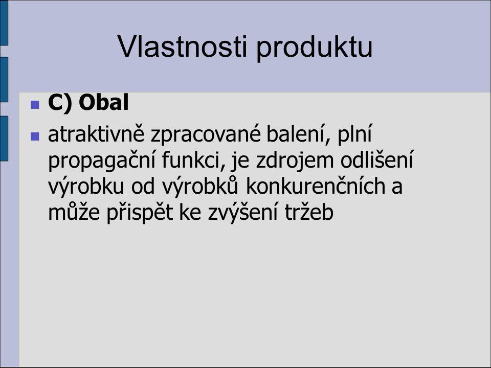 Vlastnosti produktu C) Obal