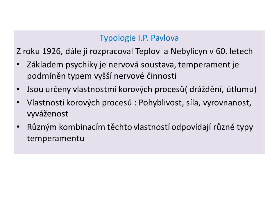 Typologie I.P. Pavlova Z roku 1926, dále ji rozpracoval Teplov a Nebylicyn v 60. letech.