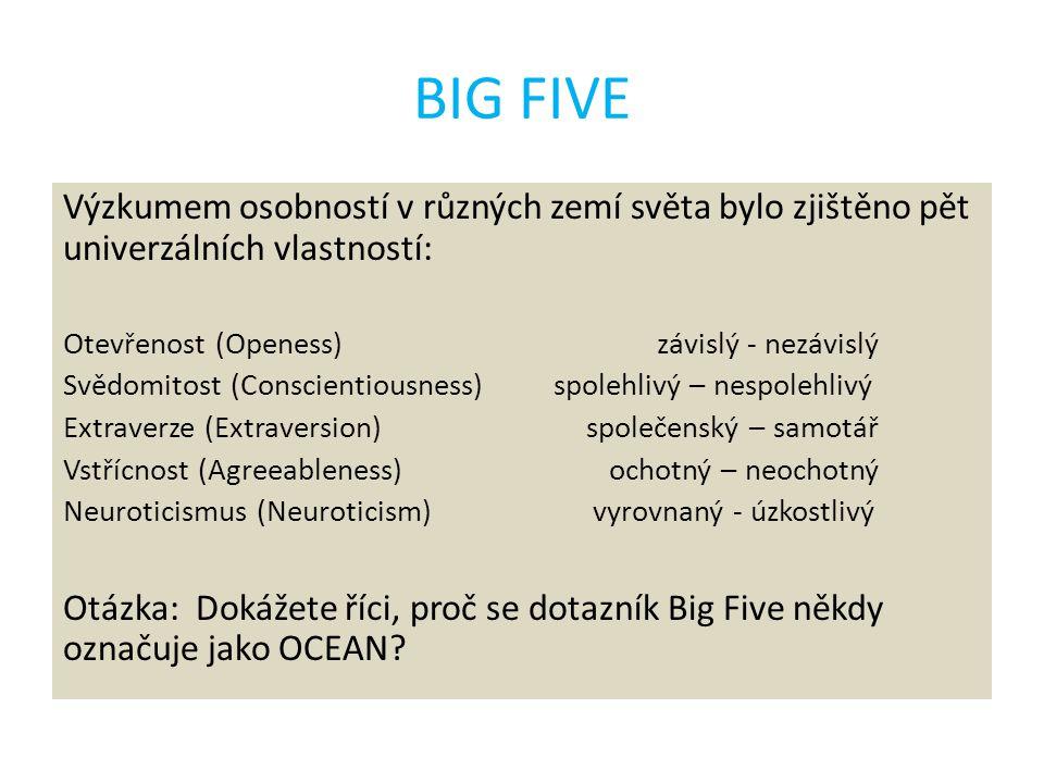 BIG FIVE Výzkumem osobností v různých zemí světa bylo zjištěno pět univerzálních vlastností: