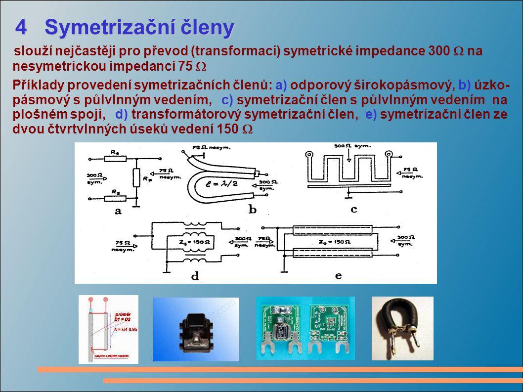 4 Symetrizační členy slouží nejčastěji pro převod (transformaci) symetrické impedance 300  na. nesymetrickou impedanci 75 