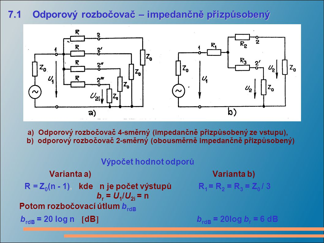 7.1 Odporový rozbočovač – impedančně přizpůsobený