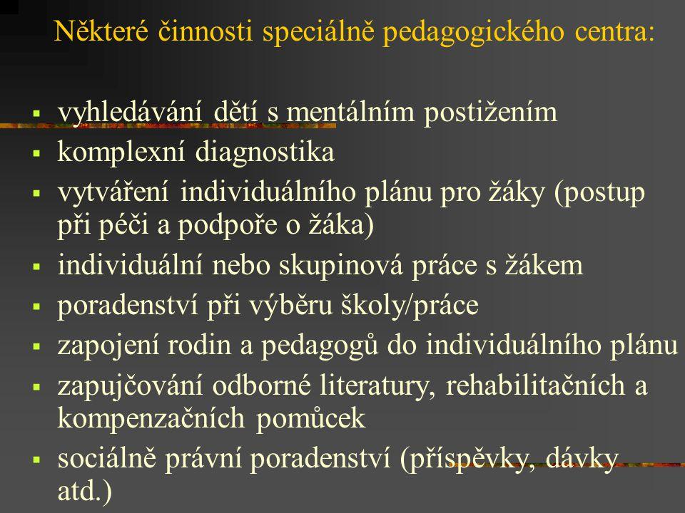 Některé činnosti speciálně pedagogického centra: