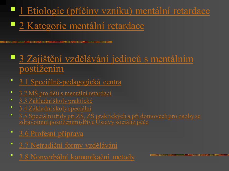 1 Etiologie (příčiny vzniku) mentální retardace