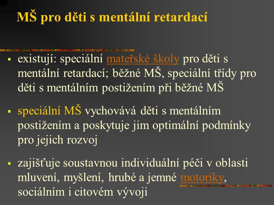MŠ pro děti s mentální retardací