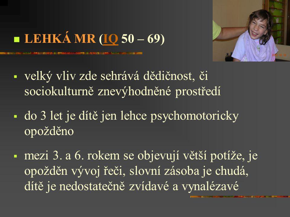 LEHKÁ MR (IQ 50 – 69) velký vliv zde sehrává dědičnost, či sociokulturně znevýhodněné prostředí. do 3 let je dítě jen lehce psychomotoricky opožděno.