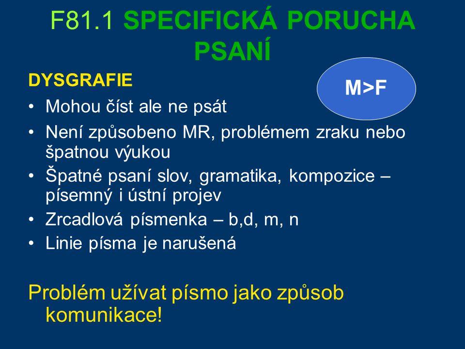 F81.1 SPECIFICKÁ PORUCHA PSANÍ