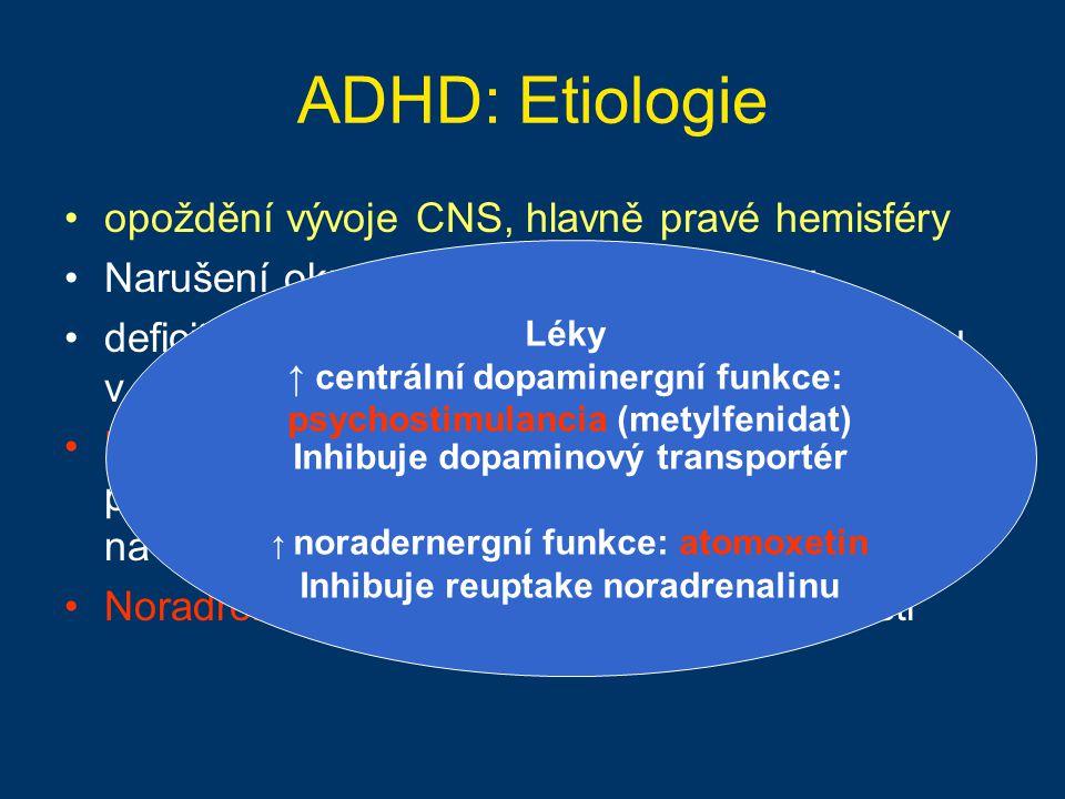 ADHD: Etiologie opoždění vývoje CNS, hlavně pravé hemisféry