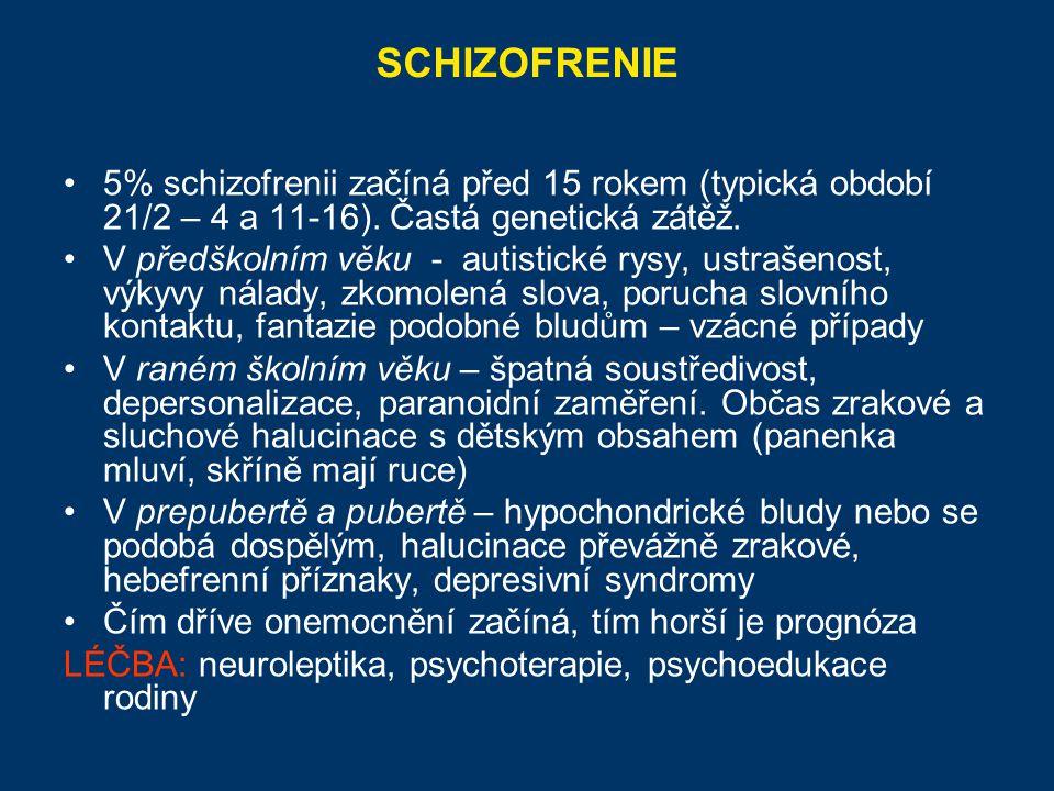 SCHIZOFRENIE 5% schizofrenii začíná před 15 rokem (typická období 21/2 – 4 a 11-16). Častá genetická zátěž.
