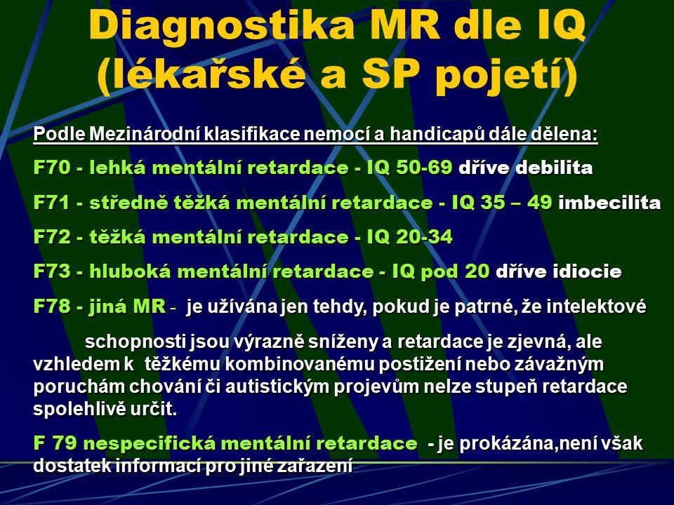 Diagnostika MR dle IQ (lékařské a SP pojetí)