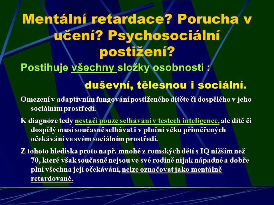 Mentální retardace Porucha v učení Psychosociální postižení
