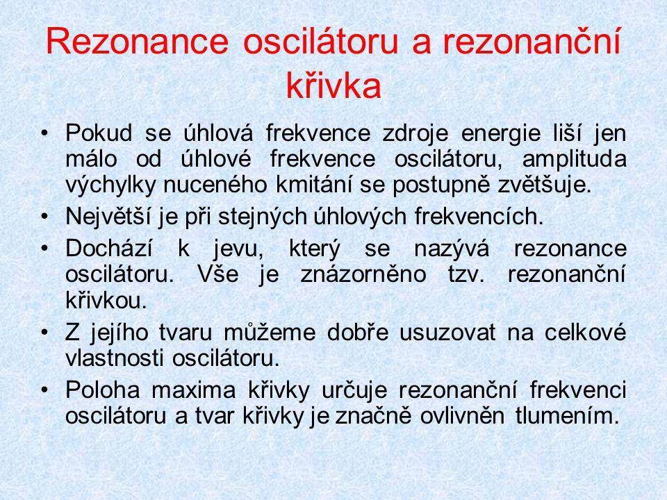 Rezonance oscilátoru a rezonanční křivka