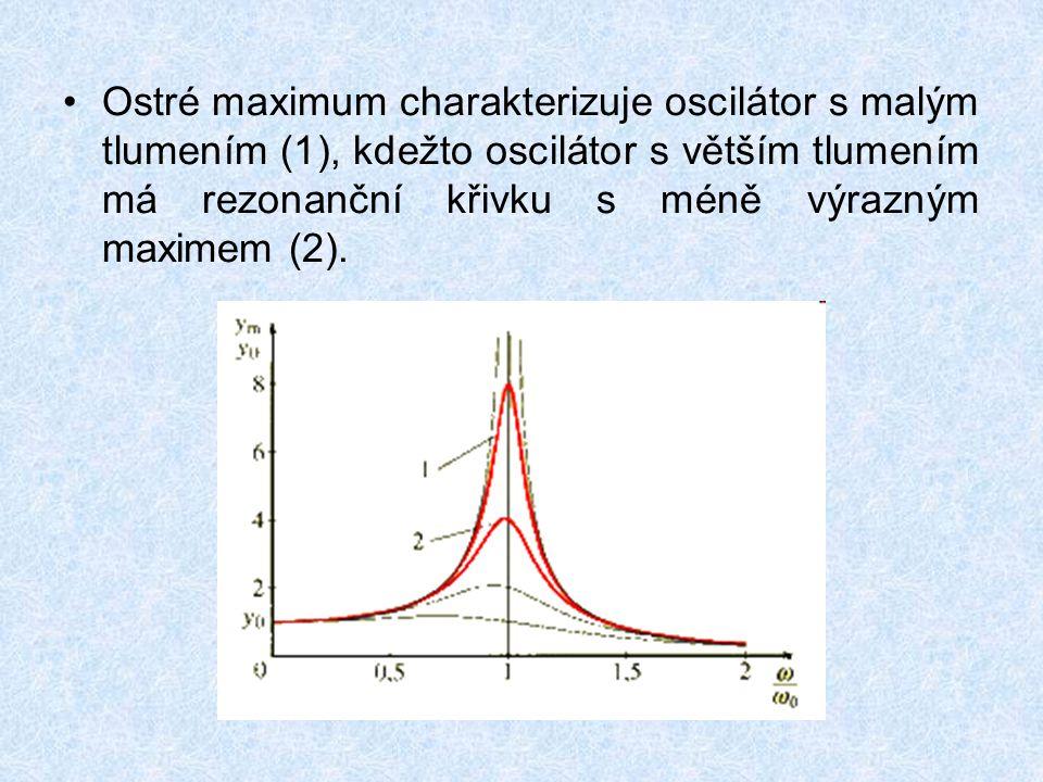 Ostré maximum charakterizuje oscilátor s malým tlumením (1), kdežto oscilátor s větším tlumením má rezonanční křivku s méně výrazným maximem (2).
