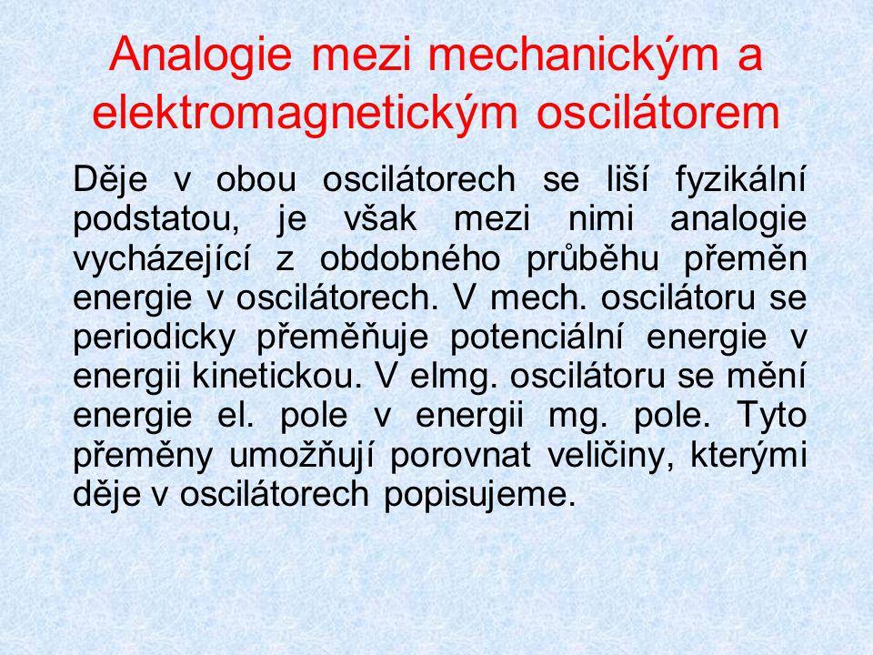 Analogie mezi mechanickým a elektromagnetickým oscilátorem
