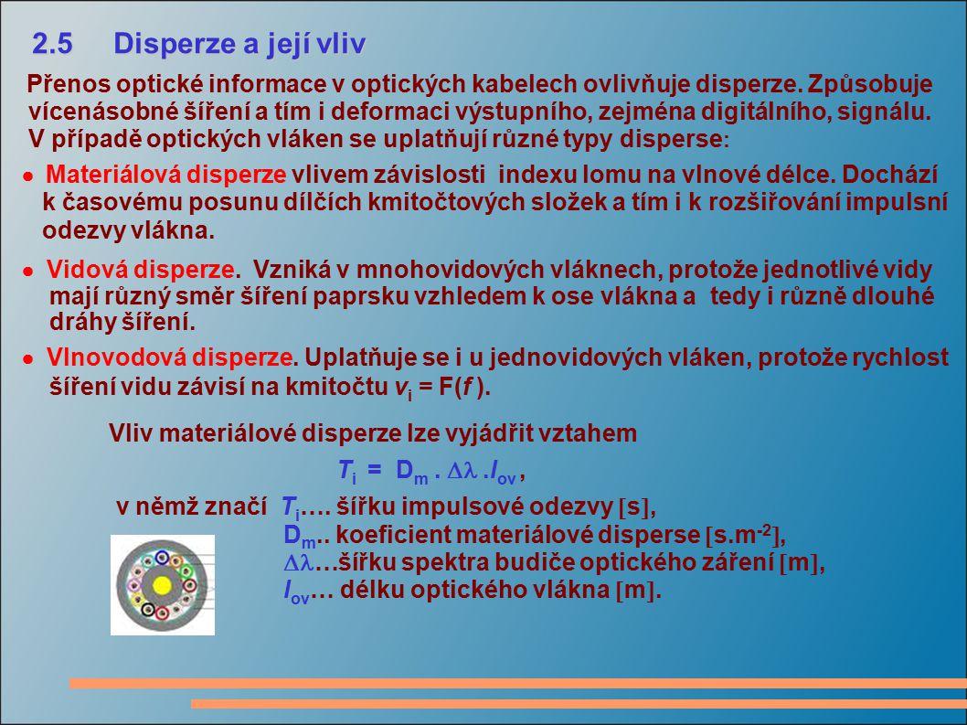 2.5 Disperze a její vliv Přenos optické informace v optických kabelech ovlivňuje disperze. Způsobuje.
