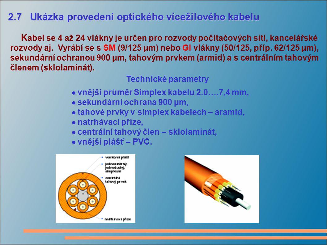 2.7 Ukázka provedení optického vícežilového kabelu