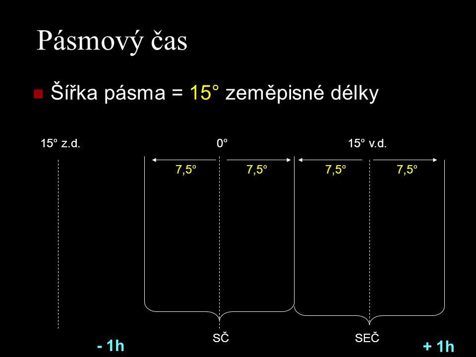 Pásmový čas Šířka pásma = 15° zeměpisné délky - 1h + 1h 15° z.d. 0°
