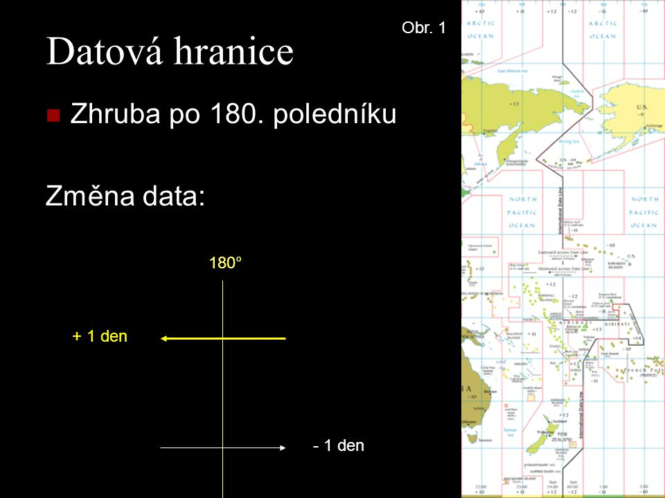 Datová hranice Zhruba po 180. poledníku Změna data: Obr. 1 180°